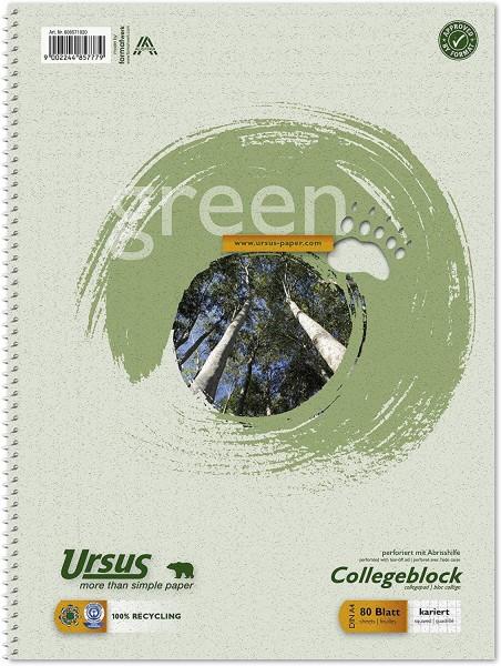 Ursus Green 608571020 Collegeblock - A4, 80 Blatt, 60g/qm, 5 mm, kariert
