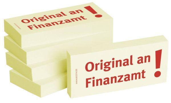 BIZSTIX Bedruckte Haftnotizen- Text: Original an Finanzamt!