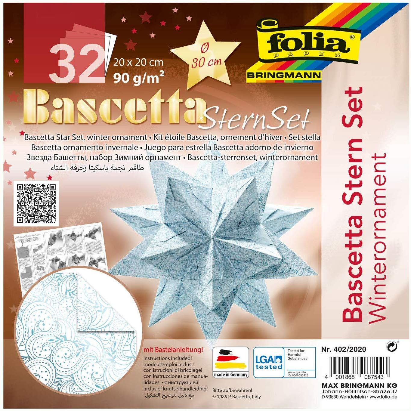 folia 402/2020 - Bastelset Bascetta Stern Winterornament weiß/eisblau, 32 Blatt, 20 x 20 cm, fertige