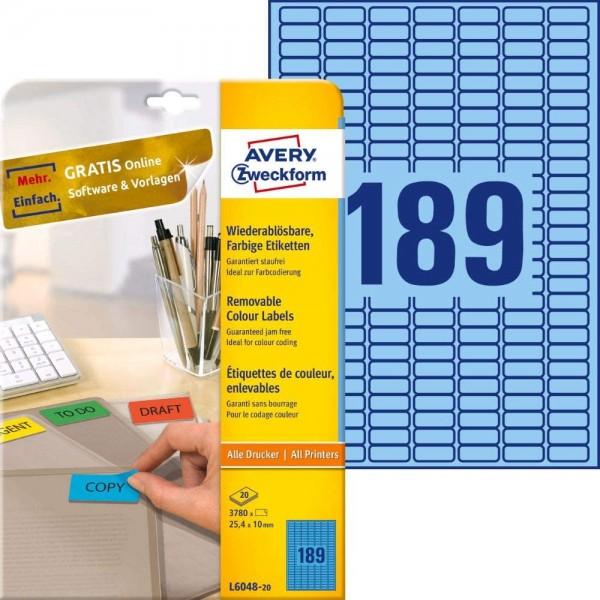 AVERY Zweckform L6048-20 Blaue Etiketten (3.780 Aufkleber, 25,4x10mm auf A4, wieder rückstandsfrei a
