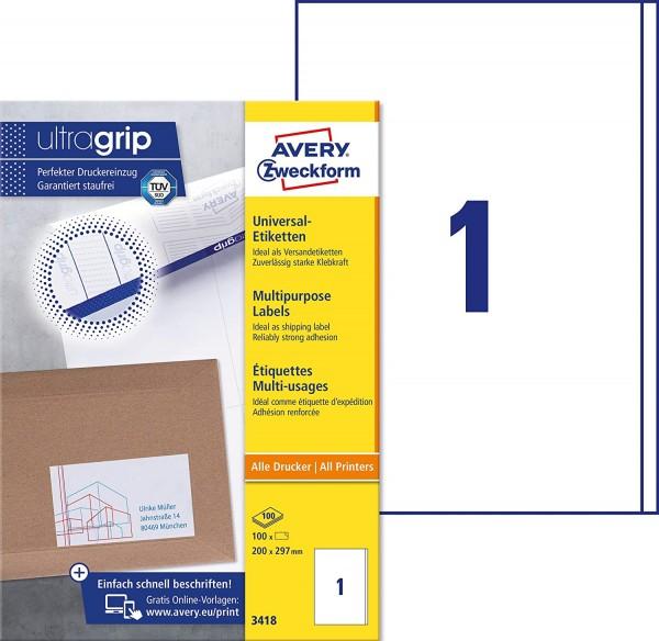 AVERY Zweckform 3418 Universal Etiketten (100 Klebeetiketten, 200x297mm auf A4, Papier matt, bedruck