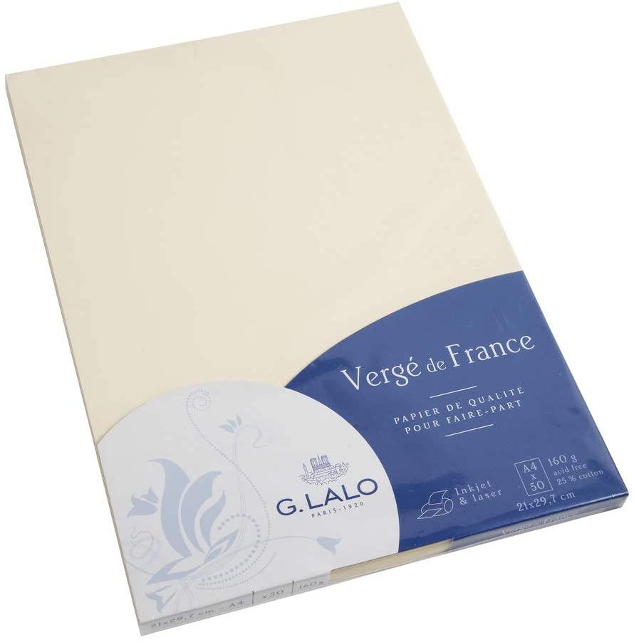 G.Lalo 41416L Papier Vergé de France (160 g, DIN A4, 21 x 29,7 cm, 50 Blatt) elfenbein