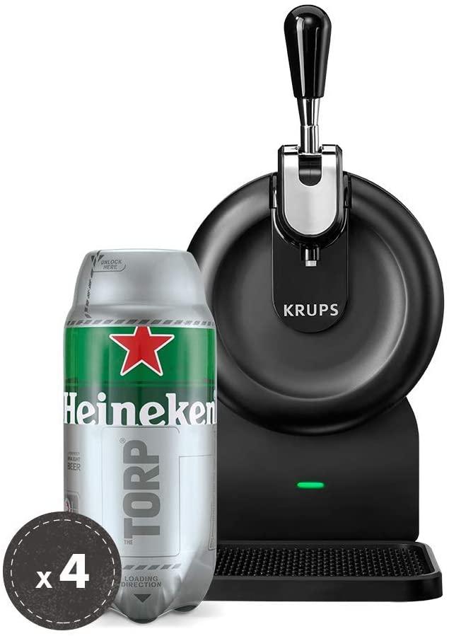 Heineken Fassbier-Set THE SUB   THE SUB Compact Edition Bierzapfanlage für Zuhause, Black + 4 x Hein