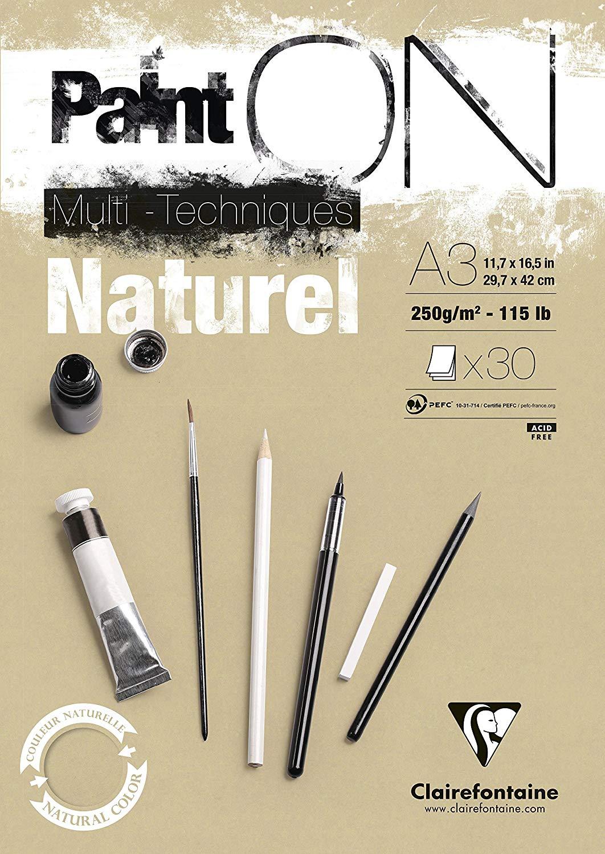 Vorschau: Clairefontaine 96541C Naturel PaintOn Block (250 g, DIN A3, 29,7 x 42 cm, geleimt, 30 Blätter, gut g