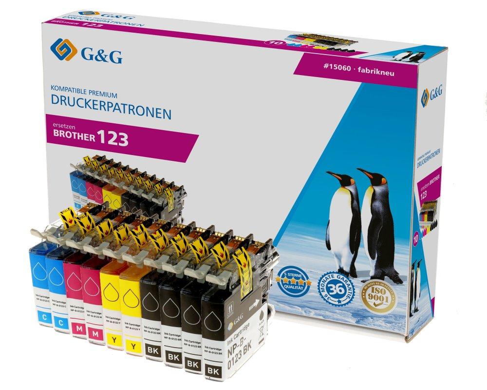 G&G Tinte ersetzt Brother LC-123 Kompatibel 10er-Pack Schwarz, Cyan, Magenta, Gelb 15060