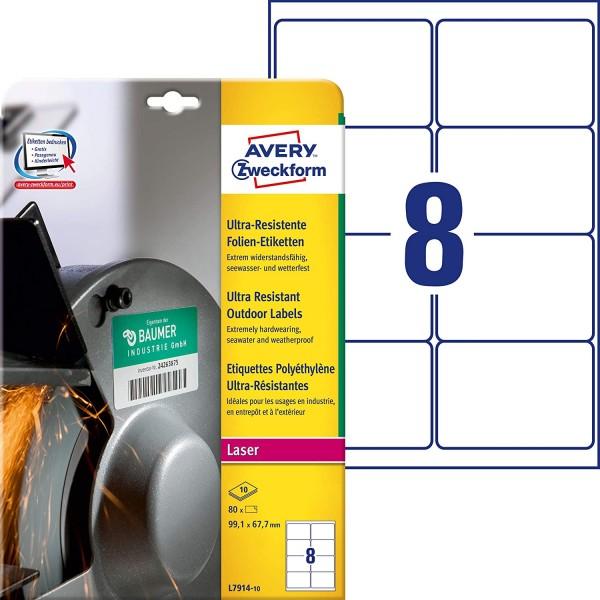 AVERY Zweckform L7914-10 Strapazierfähige Folienetiketten (99,1x67,7 mm auf DIN A4, extrem stark sel