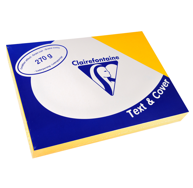 Clairefontaine Ledergeprägtes Papier 270 g/m² DIN-A4 Gelb 100 Blatt