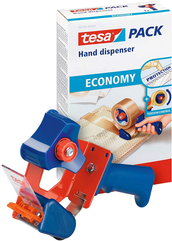 tesa Packband Handabroller ECONOMY - robuster Abroller für Paketbänder - Profi-Qualität - Für Klebeb