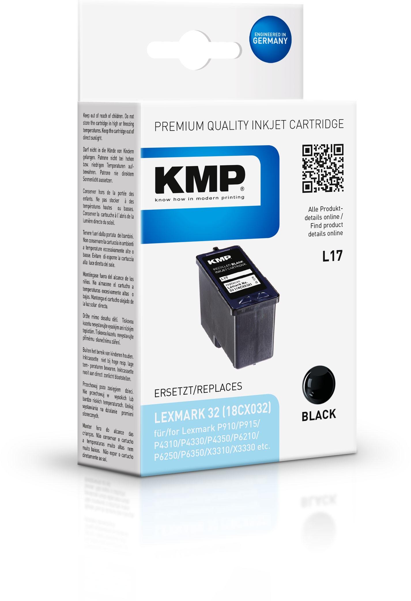 KMP Patrone L17 für Lexmark 18CX032 / Nr. 32 P910 / X3310 / 810 schwarz