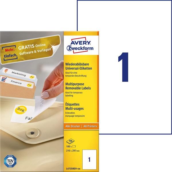 AVERY Zweckform L4735REV-100 Universal Etiketten (100 Klebeetiketten, 210x297mm auf A4, wieder rücks