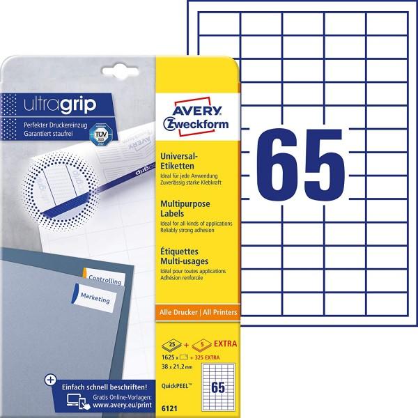 AVERY Zweckform 6121 Universal Etiketten (1.625 plus 325 Klebeetiketten extra, 38x21,2mm auf A4, Pap