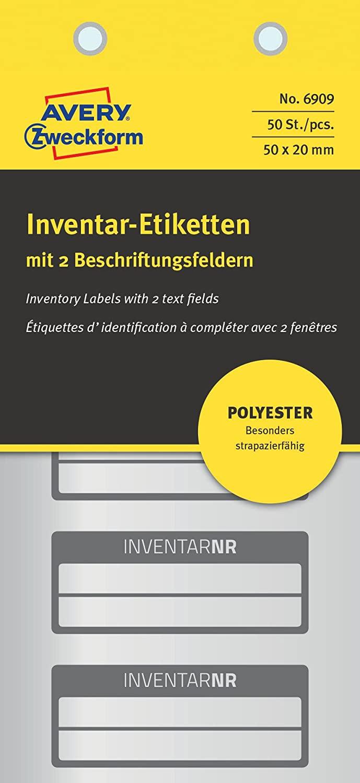 AVERY Zweckform 6909 Polyester Inventaretiketten (stark selbstklebend, strapazierbar, Kleinformat, 5