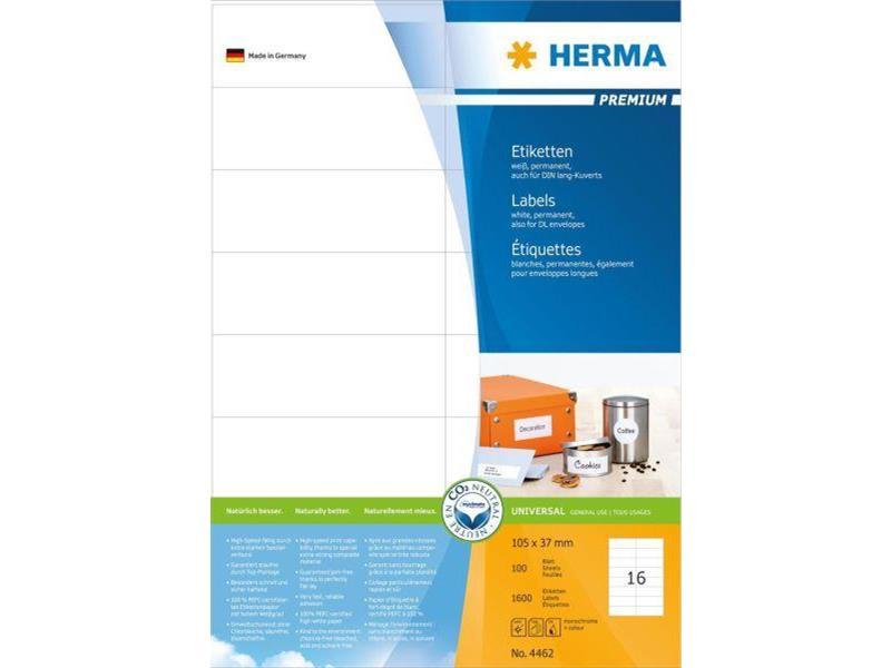 Herma Etiketten Premium A4, weiß 105x37 mm Papier matt 1600 St.