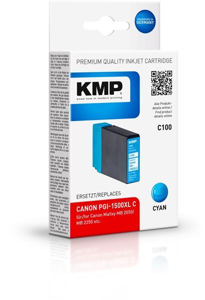 KMP Patrone C100 komp. PGI-1500XL C für Canon Maxify MB 2050 / MB 2350 cyan