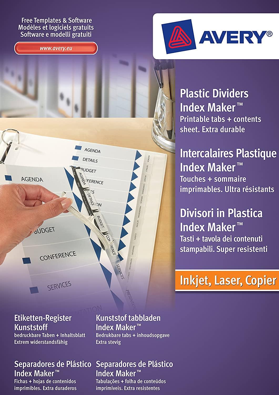 AVERY Zweckform 5113081 Etiketten-Register (A4, Set, Kunststoff, Inhaltsblatt + Taben bedruckbar) tr