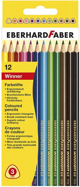 Eberhard Faber 511412 - Buntstifte Winner, dreiflächig, 12er Kartonetui
