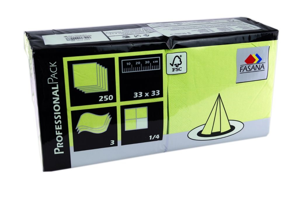 Fasana Servietten 250 Stück | 3-lagige Papierservietten in lime green | Serviette 1/4-Falz Größe: 33