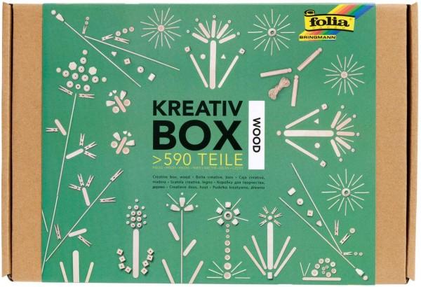 folia 938 Box Wood, Bastelkiste mit über 590 Teilen, viele Verschiedene Materialien für phantasievol