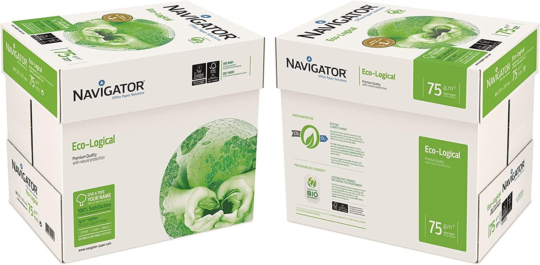 NAVIGATOR 75gsm A4eco-logical Papier 10x Reams (5,000 Sheets) - 2x Box