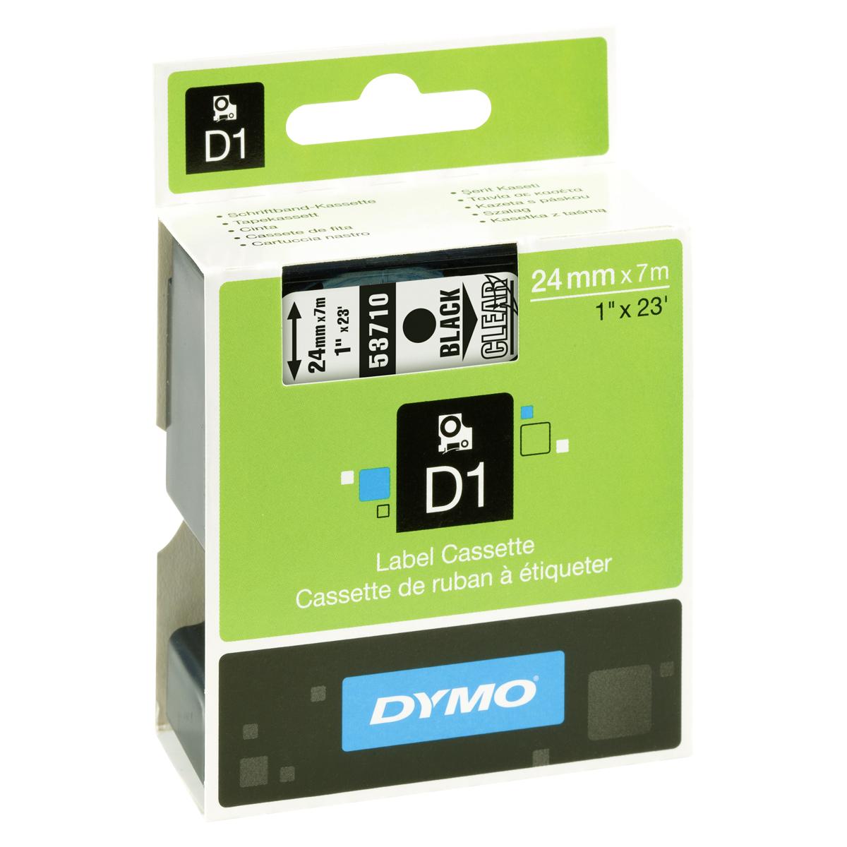 Dymo D1-Schriftband 24mm x 7m schwarz auf transparent