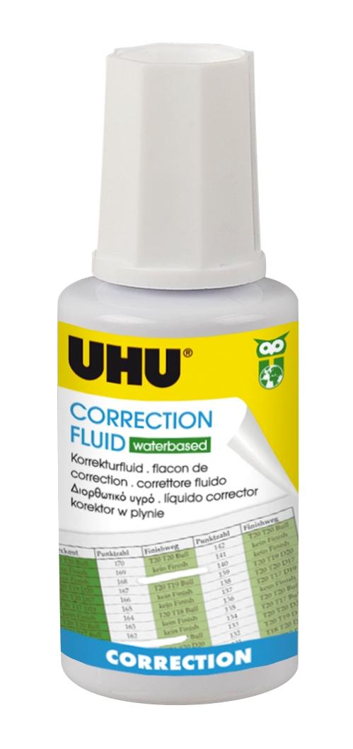 UHU Correction Fluid Korrektur-Fluid wasserbasiert, Tray 20ml