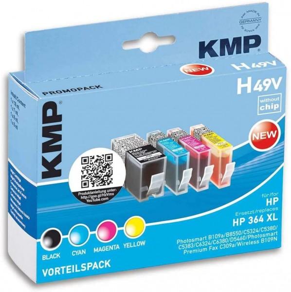 KMP Vorteilspack H49V kompatibel mit HP 364XL - 4 Patronen - ohne Chip