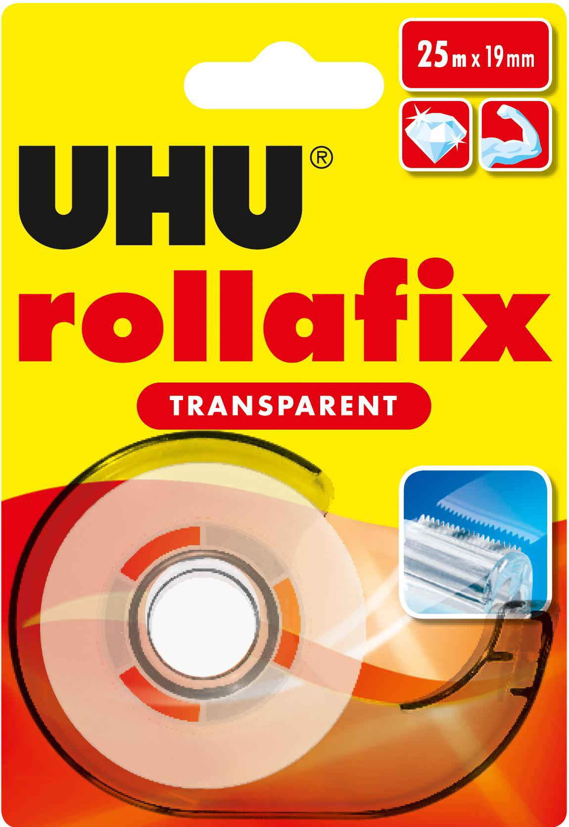 UHU rollafix transparent Klebeband Klebefilm inkl. Abroller mit Metallmesser 25m x 19mm