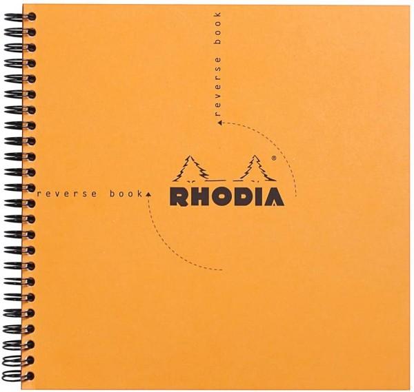 Rhodia 193608C Reverse Book (mit Spiralbindung, kariert, quadratisch, 21 x 21 cm, 80 Blatt) 1 Stück