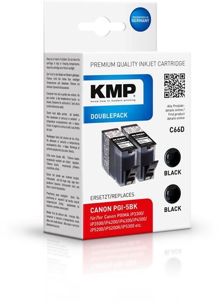 Vorschau: KMP Doppelpack C66D komp. PGI-5BK Canon PIXMA iP4200 MP500 black