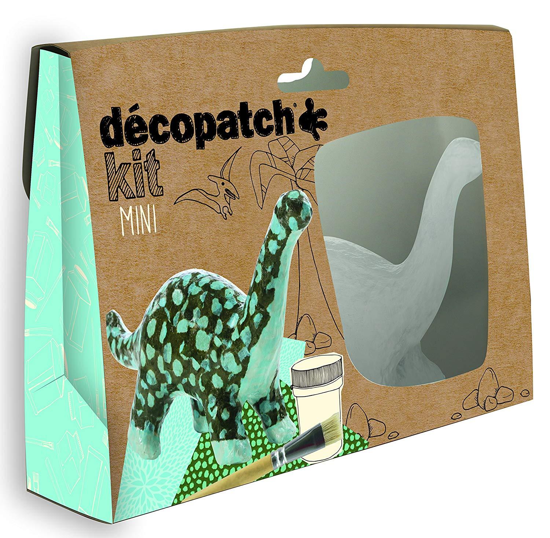 Décopatch Bastel Set Pappmaché Mini Dinosaurier (ideal für Kinder, 3,5 x 19 x 13,5 cm) blau, grün