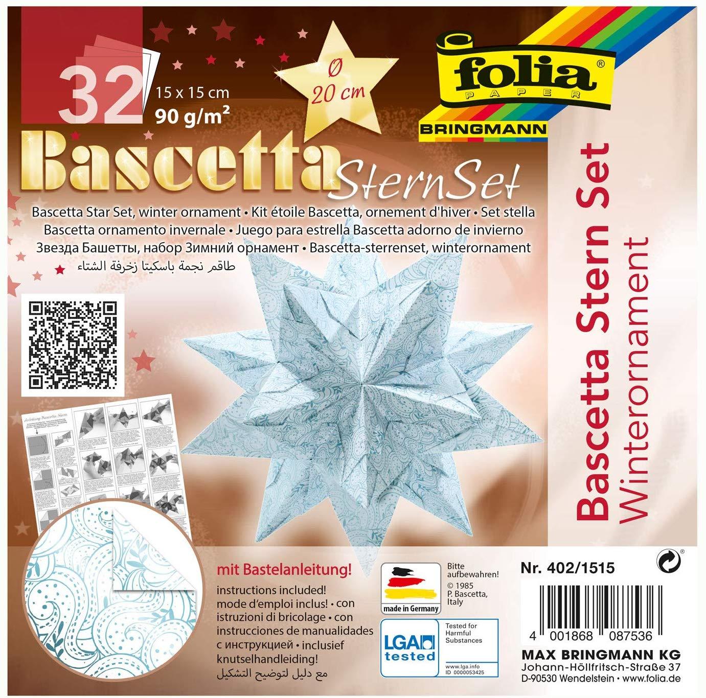 folia 402/1515 - Bastelset Bascetta Stern Winterornament weiß/eisblau, 32 Blatt, 15 x 15 cm, fertige