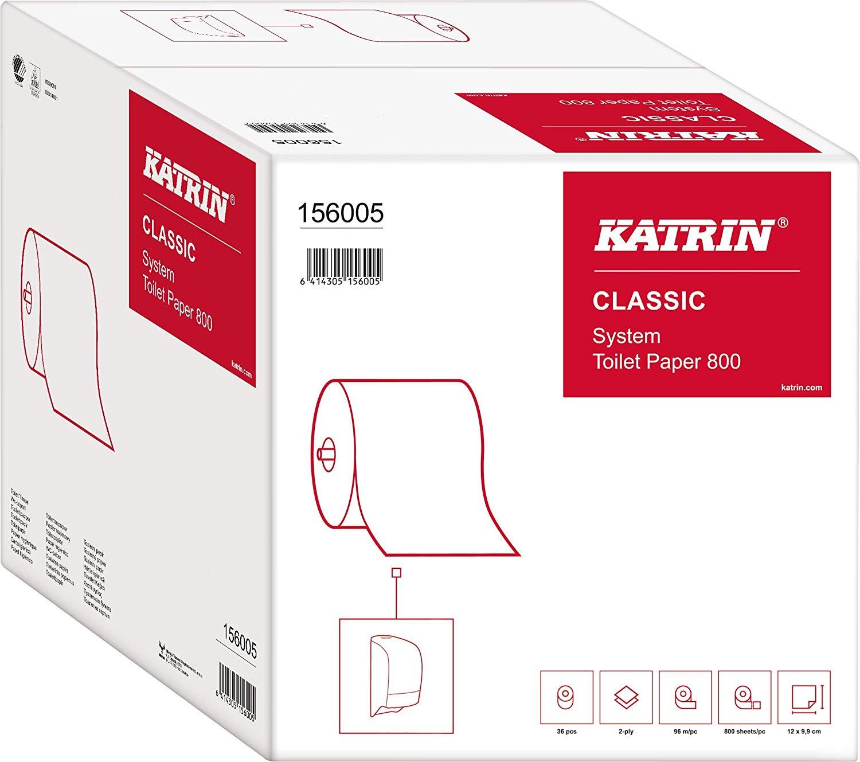 Katrin 156005 Classic System Toilet 800 Toilettenpapier, 2-lagig (36-er Pack)