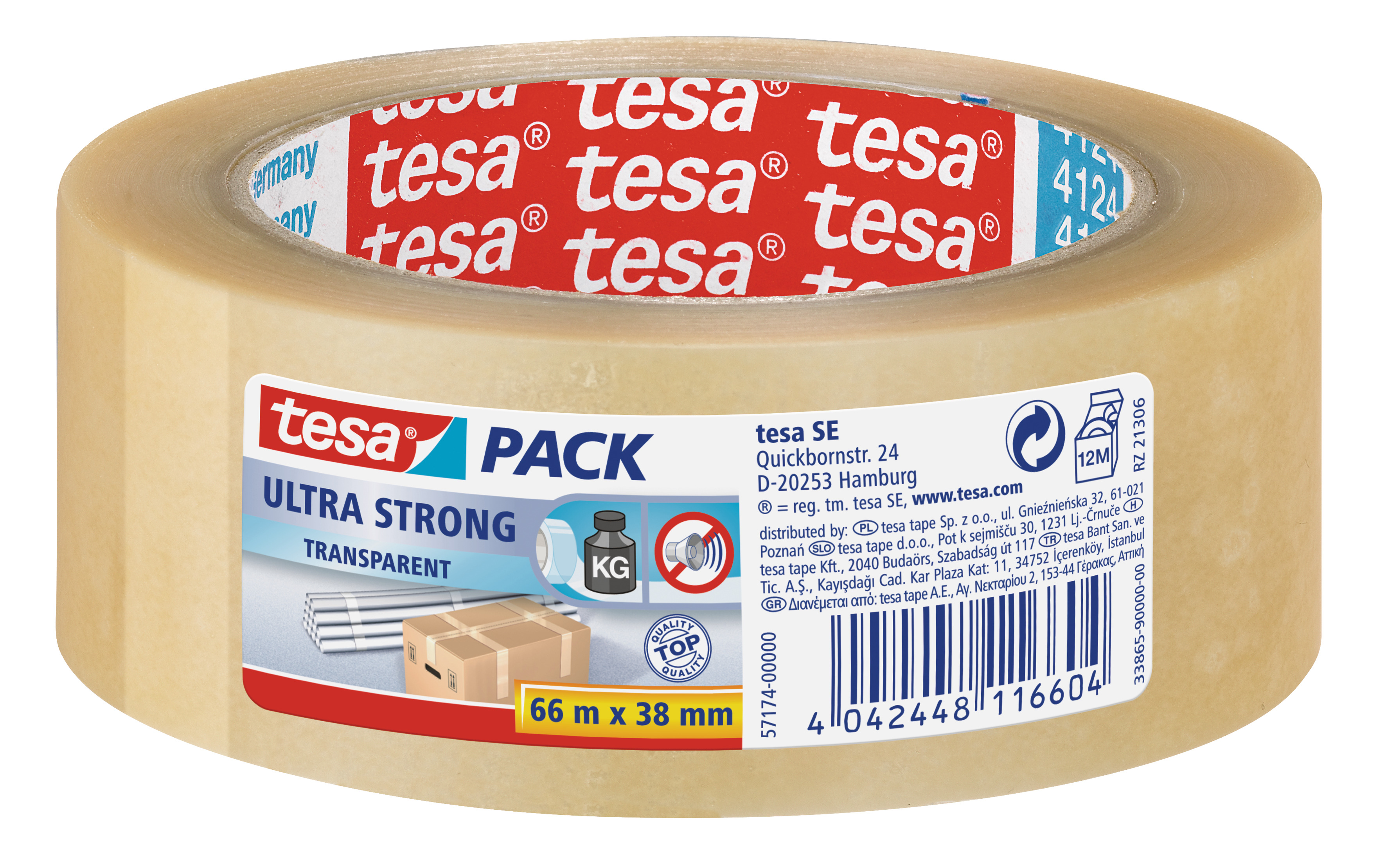 GP: 0,04 EUR/m tesa tesapack ultra strong, transparent ( PVC ) 66m x 38mm