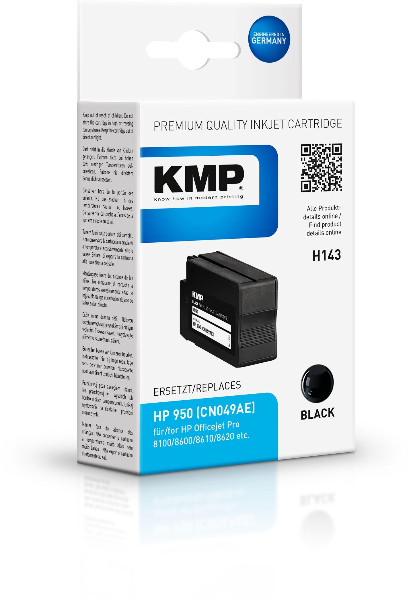 KMP Patrone H143 für CN049AE HP 950 Officejet Pro 8100 etc. bk pig.