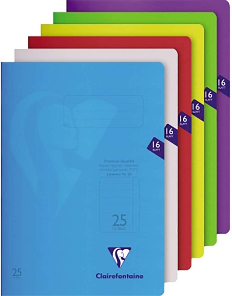 Clairefontaine Schulheft Lin 25, A4, 16 Blatt, fester, transparenter PP-Einband #303225C (Lin25, lil