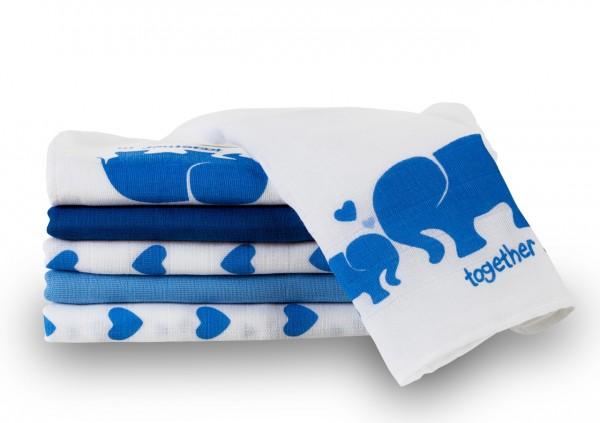 MAKIAN Spucktücher / Moltontücher - 6er Pack - 80 x 80 cm - bedruckt Elefant Weiß Blau Schadstoffgep