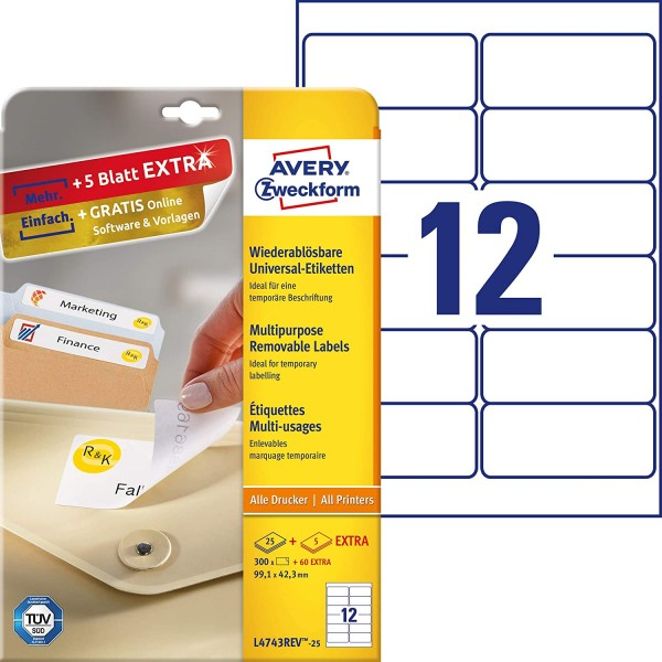 AVERY Zweckform L4743REV-25 Universal Etiketten (300 plus 60 Klebeetiketten extra, 99,1x42,3mm auf A