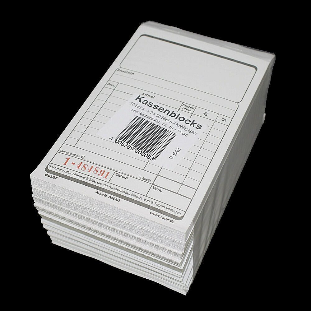 100x Kassenblöcke mit Durchschlag 10x15cm 2x 50 Blatt Schwarz / Rot