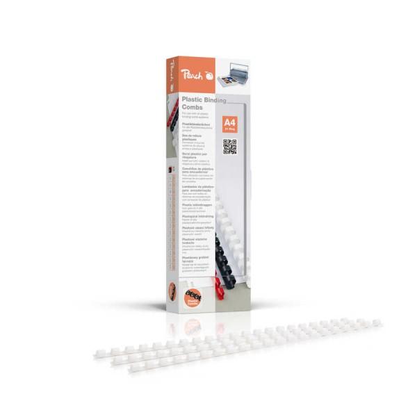Peach PB406-01 Plastkbinderücken DIN A4, 6 mm, 25 Blatt, 100 Stück, weiß