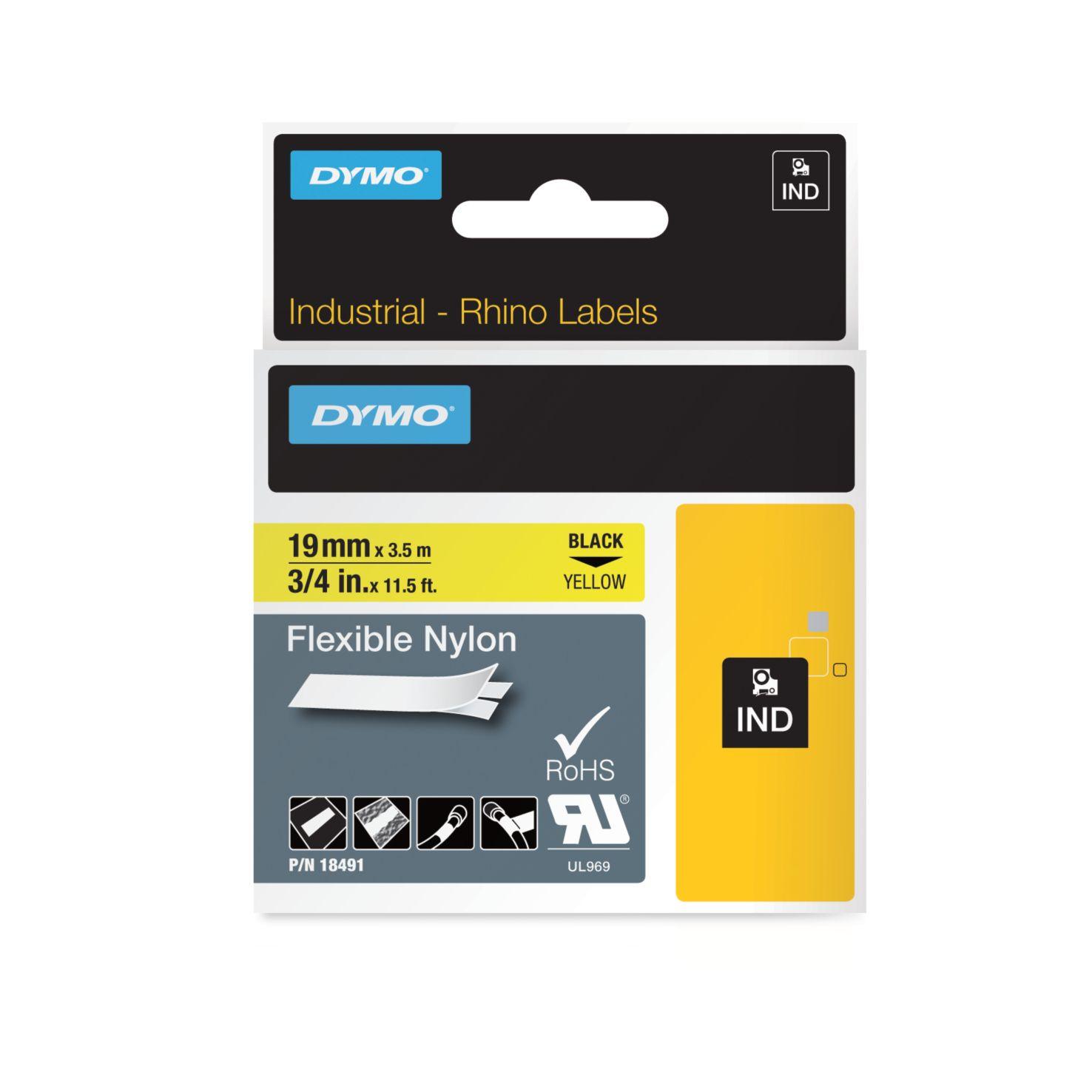 Dymo Rhino-Schriftband Nylon 19mm x 3,5m schwarz auf gelb