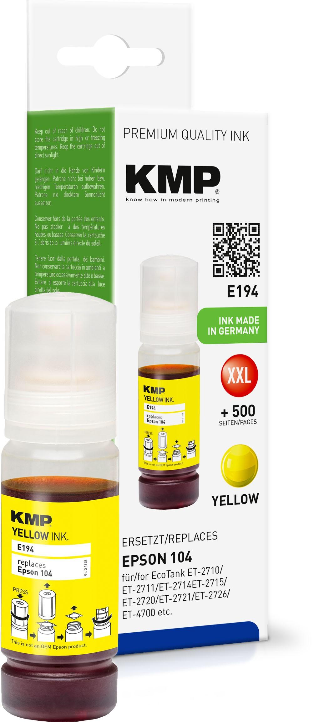 KMP E194 gelb Tintenpatrone ersetzt Epson EcoTank 104 (T0DP4)