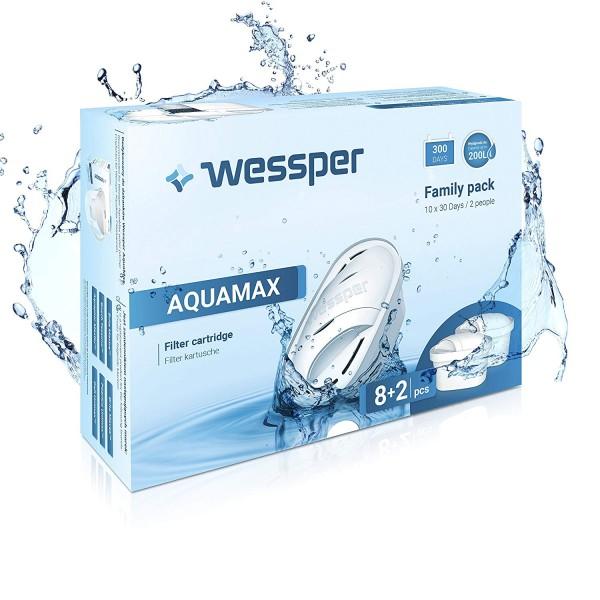 Wessper 10er Pack Aquamax Wasserfilter Kartuschen komp. mit BRITA Maxtra, AmazonBasics WES003