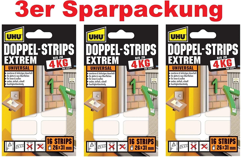 3er Sparpack UHU 45450 - Doppel-Strips Extrem bis zu 4 kg, 16 Stück, ca. 26 mm x 31 mm (3er Pack | D
