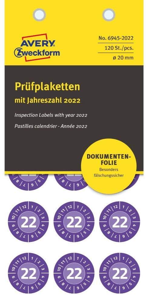 AVERY Zweckform 120 Stück Prüfplaketten 2022 (fälschungssicher, stark selbstklebend, Ø 20 mm, Prüfau