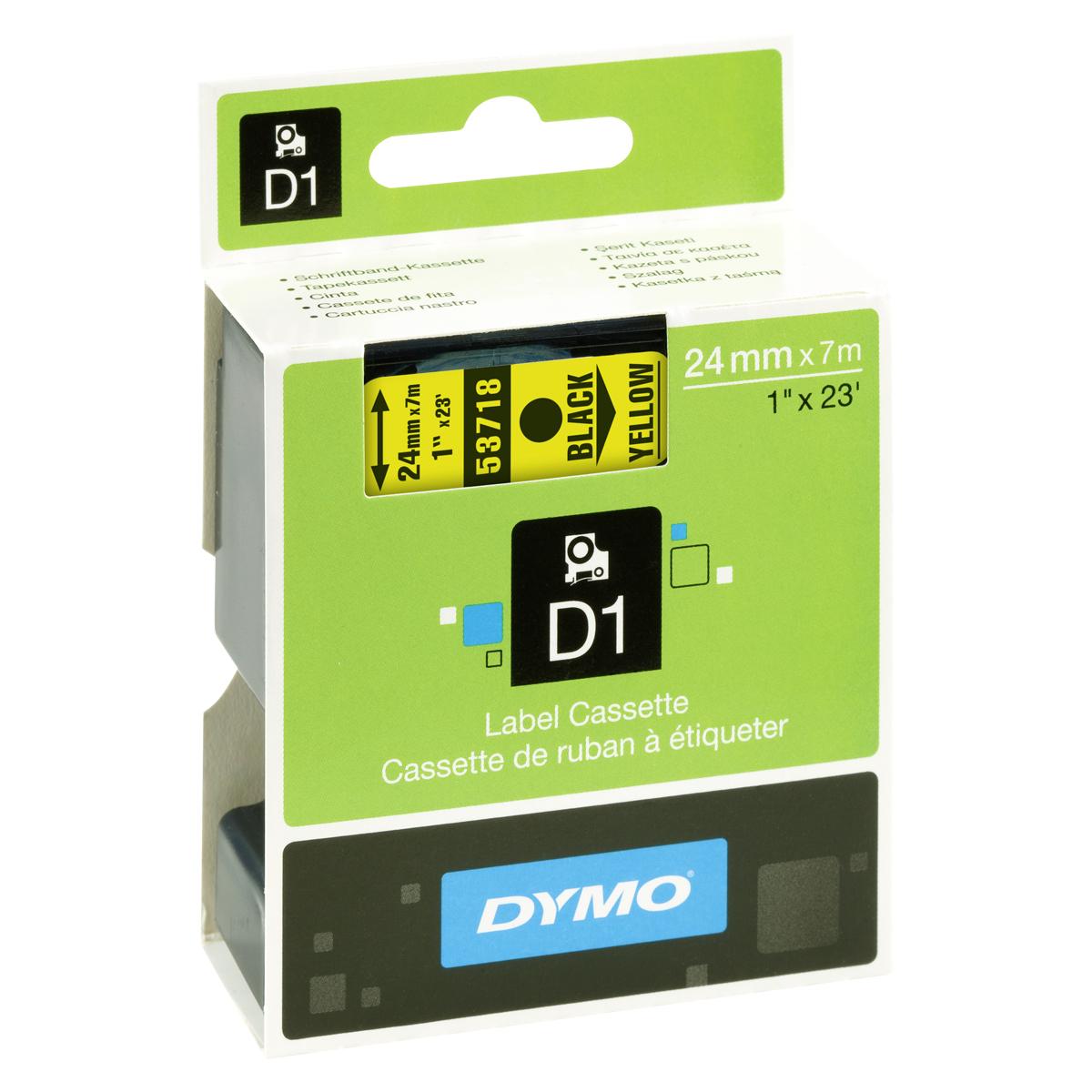 Dymo D1-Schriftband 24mm x 7m schwarz auf gelb
