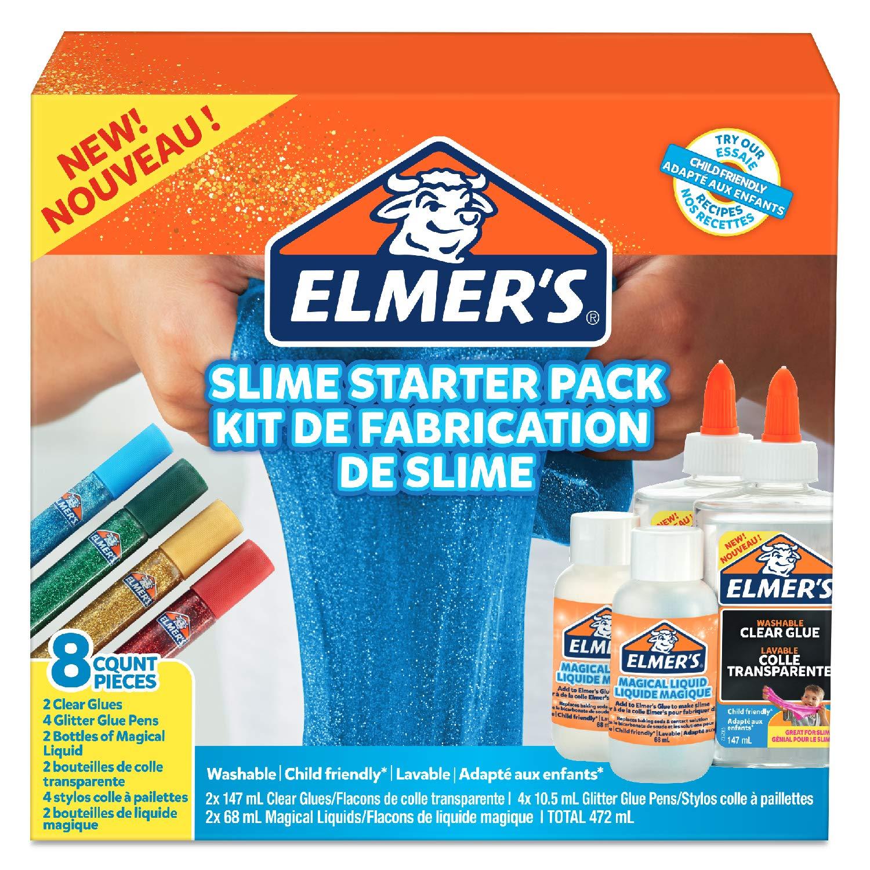 Elmer's Schleim-Starter-Set, transparent, Glitzer-Gelschreiber,, Schleim-Aktivator Lösung, 8 Stück