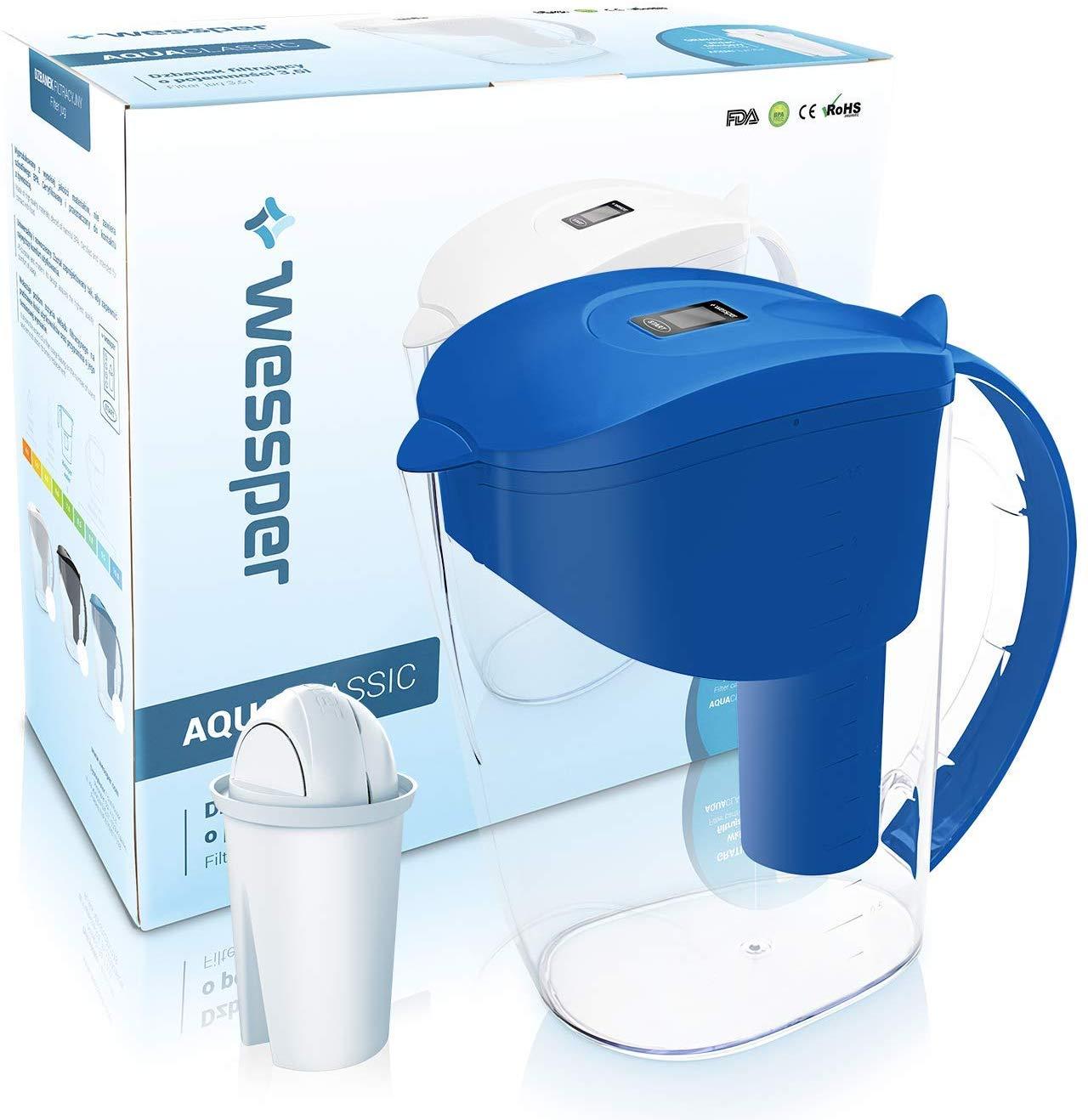 Wessper Wasserfilter Classic inkl. 1 Classic Filterkartusche (kompatibel AQUACLASSIC) 3,5L - BLAU