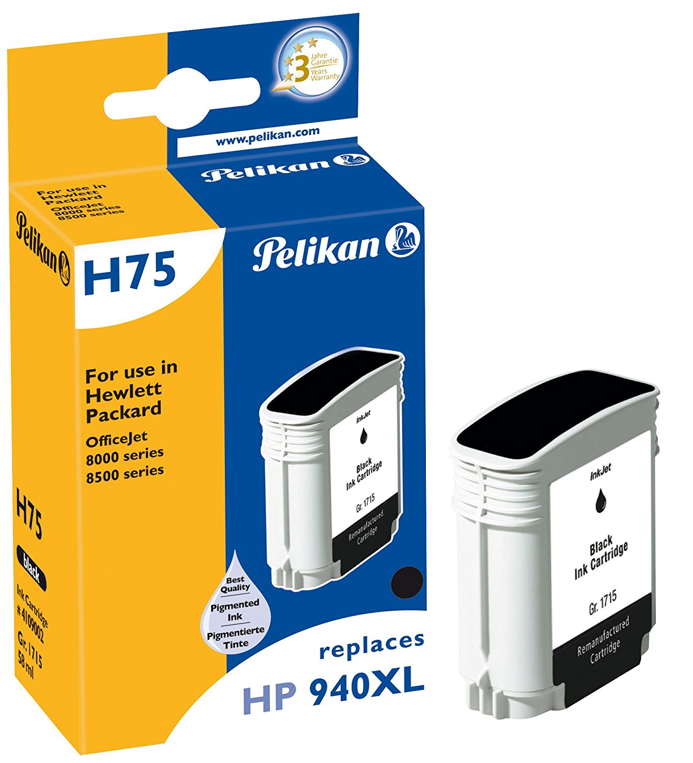 Pelikan Patrone H75 für HP 940XL bk OfficeJet 8000 etc. Black
