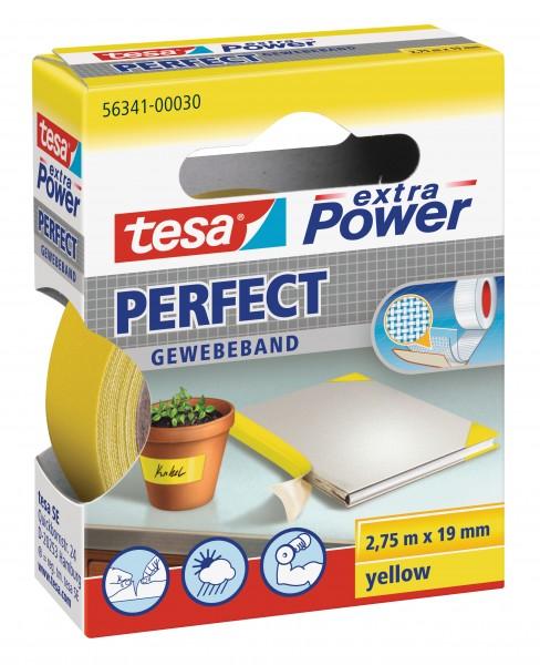 GP: 0,72 EUR/m tesa extra Power Perfect Gewebeband gelb 2,75m x 19mm