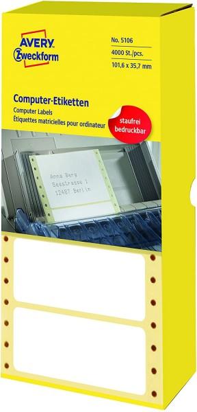 AVERY Zweckform 5106 Computer-Etiketten (Papier matt, 4,000 Etiketten, 101,6 x 35,7 mm) 1 Pack weiß